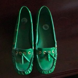 Michael Kors patent leather green driving shoes